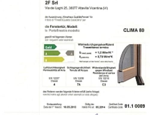 La portafinestra Clima 80 ha la Classe A di Finestra Qualità CasaClima